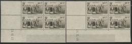 """N° 466 (x8) ** (MNH). Cote 46 €. Deux Coins Datés Différents Du 23 Et 24/10/40 / Blocs De Quatre """"Moisson"""". - 1940-1949"""