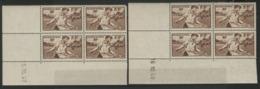 """N° 467 (x8) ** (MNH). Cote 46 €. Deux Coins Datés Différents Du 15 Et 16/10/40 / Blocs De Quatre """"Semailles"""". - 1940-1949"""