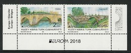 "CHIPRE TURCO/ TURKISH CYPRUS/ TÜRKISH-ZYPERN - EUROPA 2018 -""PUENTES.-BRIDGES -BRÜCKEN -PONTS"" - SERIE H-2 De La BF - 2018"