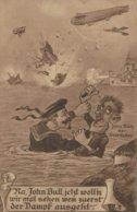 Illustrateur John Bull - Der Seerauber - Le Nettoyer De Mer - Zeppelin - 2 Scans - War 1914-18