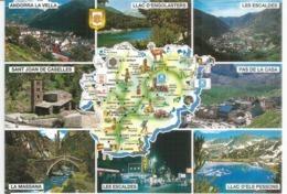 Carte Géographique D'Andorre (Principauté), Carte Postale Neuve, Non Circulée - Cartes Géographiques