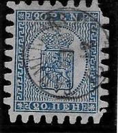"Finlande 1866-70 "" 20 P."" Yvert 8, Dent Percés En Serpentins, Oblitere - 1856-1917 Russian Government"