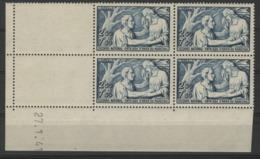 """N° 498 ** (MNH). Cote 55 €. Coin Daté Du 27/1/41 / Bloc De Quatre """"Au Profit Du Secours National"""". - 1940-1949"""