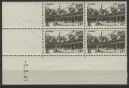 """N° 498 ** (MNH). Coin Daté Du 29/11/41 / Bloc De Quatre """"Hôtel Dieu De Beaune"""". - Hoekdatums"""