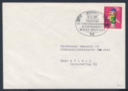 Deutschland Germany 1971 Cover / Brief / Enveloppe - Friedensnobelpreis Bundeskanzler Willy Brandt / Nobel Prize - Nobelprijs