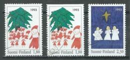 Finlande YT N°1198/1199 + 1198a Noel 1993 Oblitéré ° - Finland