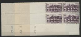 """N° 500 (x28) ** (MNH). Cote 38.5 €. Sept Coins Datés Différents (voir Détail) / Blocs De Quatre """"Angers"""". - 1940-1949"""