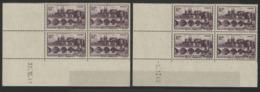 """N° 500 (x8) ** (MNH). Deux Coins Datés Différents Du 30/12/41 Et 9/1/42 / Blocs De Quatre """"Angers"""". - Ecken (Datum)"""