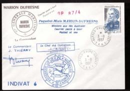Lettre TAAF 1987 Cachet Alfred Faure Crozet Courrier Posté à Bord Paquebot Marion Dufresne N°128 - Cartas