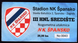 Croatia 2019 / Football Club Spansko / Coat Of Arms / Entry Game Ticket - Voetbal