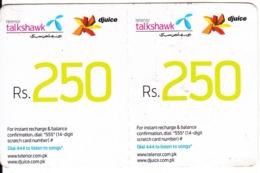 PAKISTAN - 2 Telenor/Djuice Mini Prepaid Cards Rs.250, Exp.date 15/11/21, Used - Pakistan