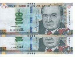 PERU   (error Notes) 2 X 100 Soles (Mismatched Serial Nr.  .....466L & 456L & 465L  & 455L  ) 19.2.2015 Pnew UNC - Peru