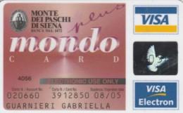 CARTA CREDITO-VISA-MPS-SCADUTE 2005-NON ATTIVE (PK1527 - Cartes De Crédit (expiration Min. 10 Ans)