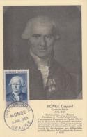 Carte  Maximum  1er  Jour   FRANCE   Gaspard   MONGE     BEAUNE    1953 - Cartoline Maximum