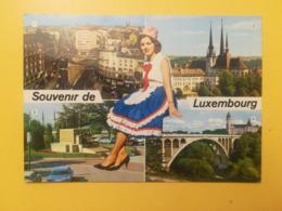 CARTOLINA POSTCARD LUSSEMBURGO LUXEMBOURG 1980 MONUMENT CATHEDRALE BOLLO GRANDUCA JEAN CHATEAU DEUTSCHE OBLITERE ANNULLO - Lussemburgo - Città