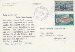 Cote Des Somalis Carte Postale Pour L'Allemagne 1961 - Côte Française Des Somalis (1894-1967)