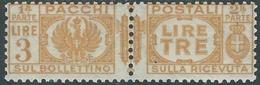 1927-32 REGNO PACCHI POSTALI 3 LIRE MH * - RB14-2 - Paketmarken