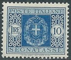 1934 REGNO SEGNATASSE 10 LIRE MNH ** - RB8-2 - 1900-44 Vittorio Emanuele III