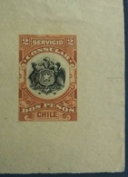 O) 1907 CHILE, REVENUE AND PROOF - CONSULAR ISSUE 2p - COAT OF ARMS -SUPERB DIE PROOF ON LARG PIECE OF PAPER WITH GUIDE - Chile