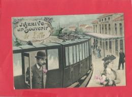 CPA   - J'arrive - Un Souvenir De Lille -( Train , Locomotive , Gare ) - Lille