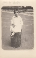 RP; Little Girl Wearing A White Frock Sitting On Log Stool, 1900-10s - Portraits