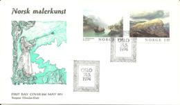 Norway 1974 Norwegian Paintings Art, Tidemand And Dahl  Mi 681-682 FDC - Norvegia