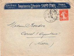 LAC 1916 - Entête  IMPRIMERIE LIBRAIRIE SAINT PAUL à BAR LE DUC  (Meuse) & à Paris  - Carte Avec 09 Timbres Semeuses 10c - Marcofilie (Brieven)