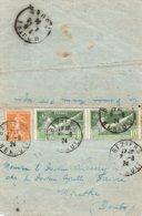 1924 - Cachets BEZIERS  (Herault) Sur YT 183 (x2) & YT 158 Sur Carte Lette - 1921-1960: Moderne