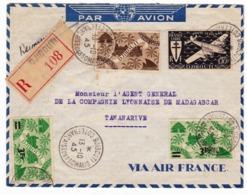 Lettre 1945 Recommandée Djibouti Côte Française Des Somalis Par Avion Air France - Lettres & Documents