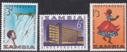 Zambia, Scott #1-3, Mint Hinged, Zambia's Independence, Issued 1964 - Zambia (1965-...)