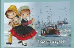Carte Brodée Bretagne Couple Pêcheur Chalutier -,neuve - Ed Jack - Embroidered