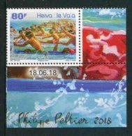 "TIMBRE** De 2018 De POLYNESIE En Coin De Feuille ""80F - HEIVA : Course Va'a, Pirogue Polynésienne"" Avec Date 18.06.18 - Polynésie Française"
