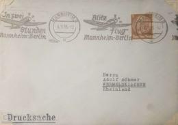 O) 1935 GERMANY, PRES. VON HINDENBURG -BLITZ FLUG MANNHEIM BERLIN - DRUCKSACHE, TO RHEINLAND, XF - Germany