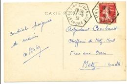 INDRE CP 1938 ST HILAIRE SUR BENAIZE AGENCE POSTALE 670 HABITANTS EN 1936 - Marcophilie (Lettres)