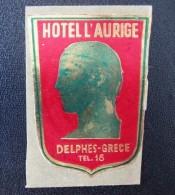HOTEL MOTEL INN RESIDENCE HOUSE AURICE DELPHES DELPHI HELIOS GREECE LUGGAGE LABEL ETIQUETTE AUFKLEBER DECAL STICKER - Etiketten Van Hotels