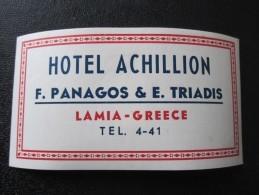 HOTEL MOTEL INN RESIDENCE HOUSE ACHILLION LAMIA HELIOS GREECE LUGGAGE LABEL ETIQUETTE AUFKLEBER DECAL STICKER - Hotel Labels