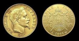 COPIE - 1 Pièce Plaquée OR Sous Capsule ! ( GOLD Plated Coin ) - France - 50 Francs Napoléon III Tête Laurée 1866 A - France