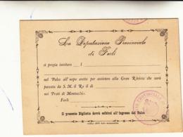 Deputazione Di Forli - Invito Per Assistere Alla Rivista Passata Da S.M. Il Re Nei Prati Di Montecchio - Forli 1888 - Anuncios
