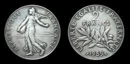 COPIE - 1 Pièce Plaquée ARGENT (SILVER Plated Coin) - France 2 Francs Semeuse ESSAI 1959 - France