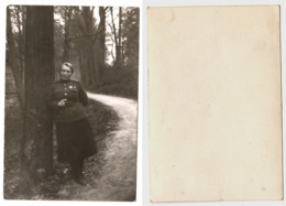 1940s Original WW2 9x6 WWII Old Photo Vintage Army Military Soviet Officer Woman On War Uniform Forest Russia USSR (4008 - Guerra, Militares