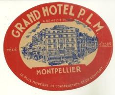 34 MONTPELLIER ETIQUETTE PUBLICITE GRAND HOTEL P.L.M. HERAULT - Etiquettes D'hotels