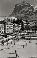 ! S/w Ansichtskarte 1957, Grindelwald, Eisbahn, Curling, Wintersport, Central Hotel, Suisse, Schweiz - BE Berne