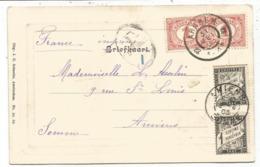 TAXE 1C NOIRX2 AMIENS 1903 CARTE MENTION IMPRIME OBL NEDERLAND HOLLANDE 1CX2 ARNHEM - Storia Postale