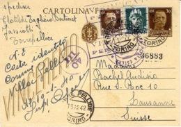 1942- C P E P 30 C + Compl. à 45 C   De Torre Pellice Pour La Suisse - Censure Italienne - 1900-44 Vittorio Emanuele III