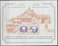 2018 UNUSED MINI SHEET FROM INDIA / INDIA SOUTH AFRICA JOINT ISSUE/ GANDHI-PETERMARITZBERG ST.INCEDENT/100 YR MANDELA - India