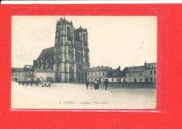 80 CORBIE Cpa Animée Eglise Et Place Thiers TRAVAUX ?    31 Caron - Corbie