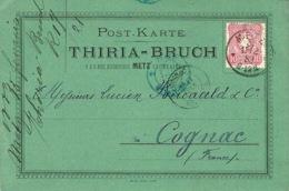 1883 - Post - Karte  Privée  THIRIA - BRUCH  Green Affr. 10 Pf Oblit. De METZ ( Lorraine ) - Deutschland