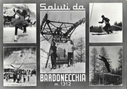 Saluti Da Bardonecchia (stazione Sciistica, Station De Ski) Multivues 1954 - Italy