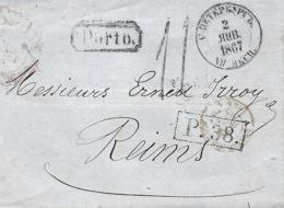 1867 - Letter From St Petersbourg - P. 38 Framed  + PORTO  Framed - Rating 11 D.  Tampon - 1857-1916 Empire