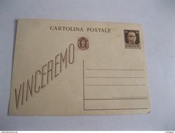 CARTOLINA Postale VINCEREMO Con Timbro Rosso G.N.R Su Francobollo Da Cent 0,30 NON Spedita  ( 1944/45) - Storia Postale